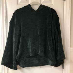 dark green bell sleeved shirt